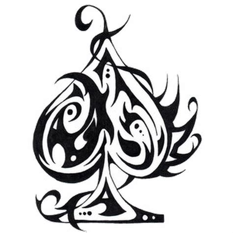 tribal spade tattoos black tribal ace of spade with banner stencil by