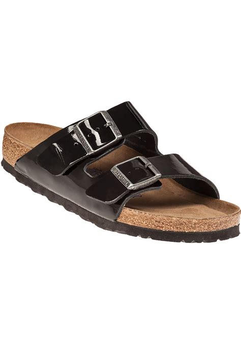 birkenstock patent sandals birkenstock arizona sandal black patent in black lyst