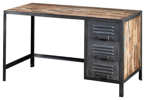 industrial style computer desk recycled wood and industrial locker style desk