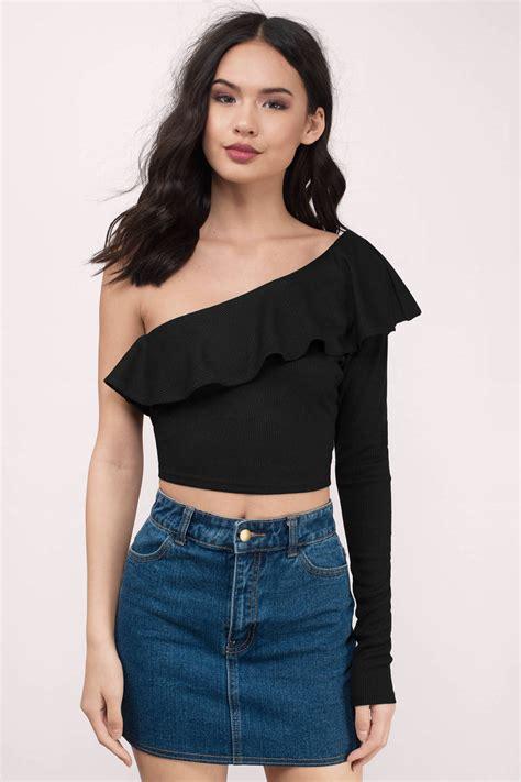 18915 Shoulder Crop Top trendy black crop top black top one shoulder top 21 00