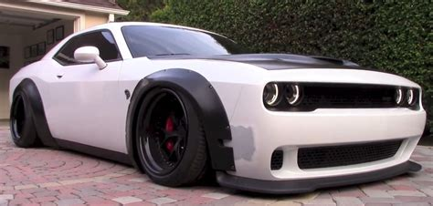 ricer muscle car dodge challenger hellcat gets liberty walk kit and air