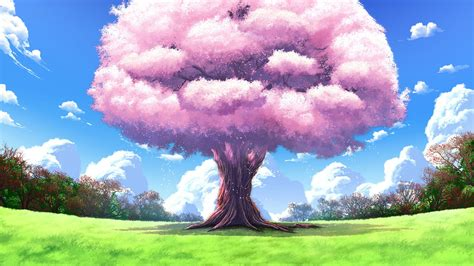 cherry tree anime beautiful landscapes 21 hd wallpaper and background 1920x1080 id 598249