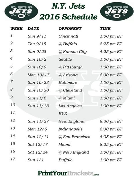 printable jets schedule 99 best printable nfl schedules images on pinterest