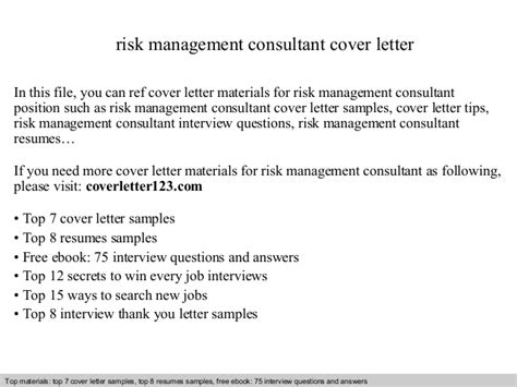 risk management cover letter risk management consultant cover letter