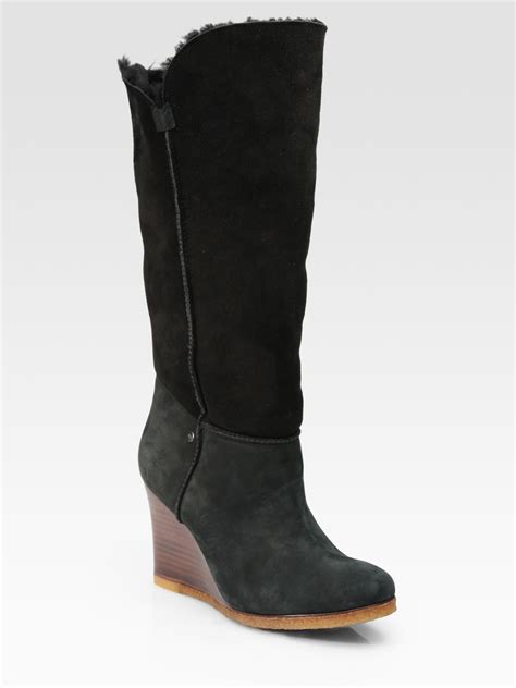 ugg aprelle foldover suede wedge boots in black lyst