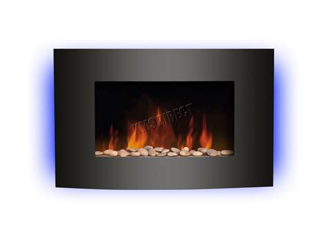 Wall Mounted Electric Fireplace Heater Wall Mounted Electric Fireplace Glass Heater Remote Led Backlit 2kw Ebay