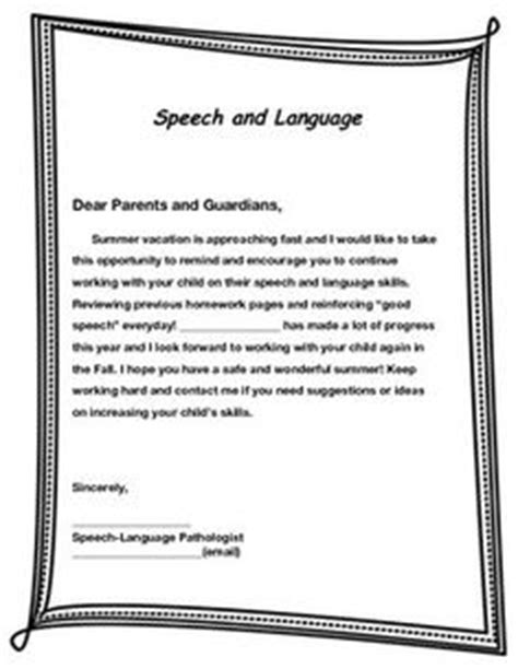 Parent Letter Speech Therapy 1000 Images About Speech Language For Parents On Parent Letters Speech And