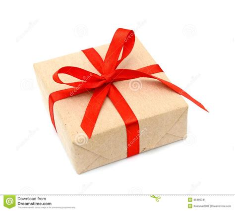 gift wrapped boxes one gift box wrapped with kraft paper and