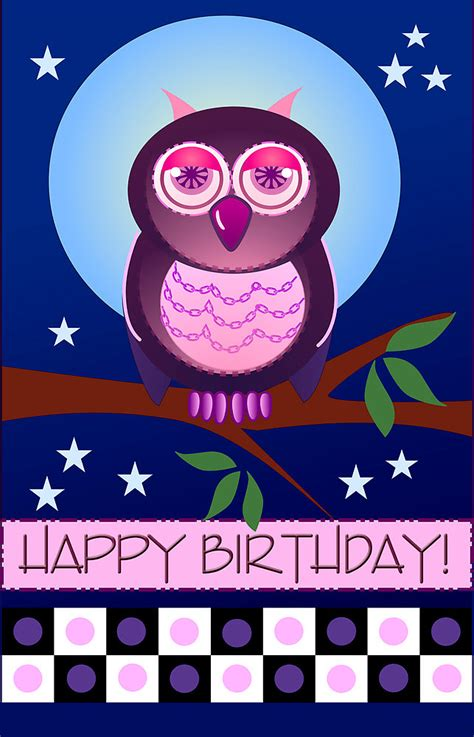 Angel Wall Stickers quot happy birthday card with owl quot by walstraasart redbubble