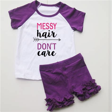 cute pattern t shirts messy hair funny words sets t shirts tee set baby girls