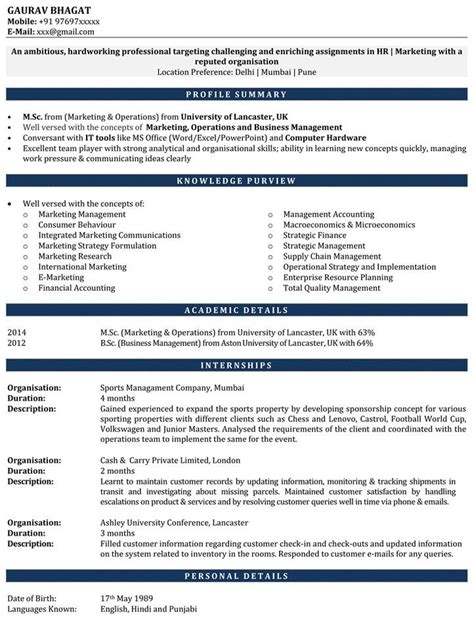 Internship Resume Format India by Iim Student Resume Best Resume Collection