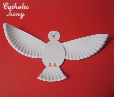 Paper Dove Craft - holy spirit craft make a dove from a paper plate
