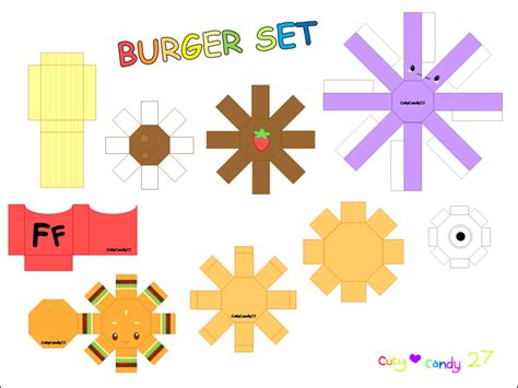 Food Papercraft Template best photos of kawaii papercraft template bunny papercraft template hamburger kawaii food