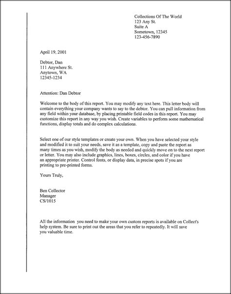 A Letter Template Downloads Debtor Letter Debtor Letter Template 4