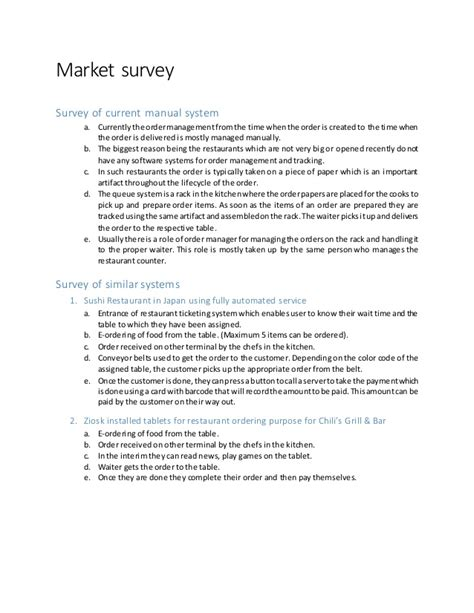 marketing survey report sle market survey report