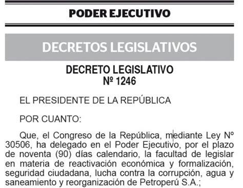 Decreto Legislativo N 1229 Diario Oficial El Peruano | dec leg n 176 1246 decreto legislativo que aprueba