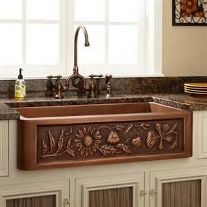 copper farmhouse kitchen sinks 33 quot floral design copper farmhouse sink kitchen