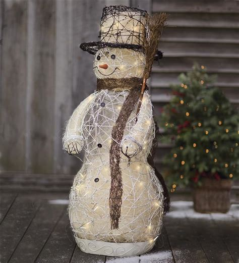 lighted snowman for outside outdoor christmas decorations cathy