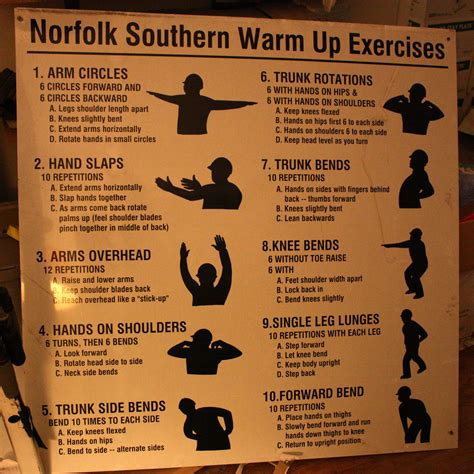 norfolk southern warm up exercises work out sign this