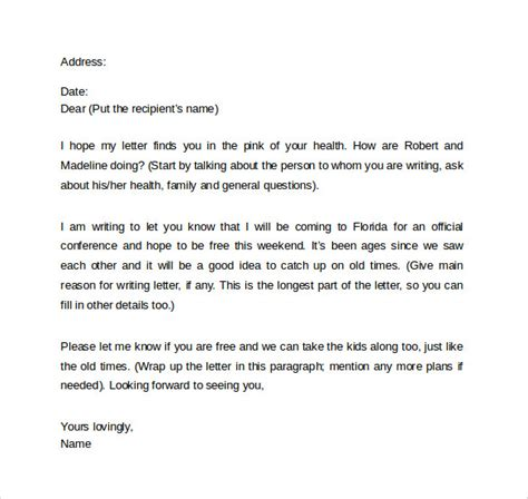 friendly cover letter 8 sle friendly letter formats to sle