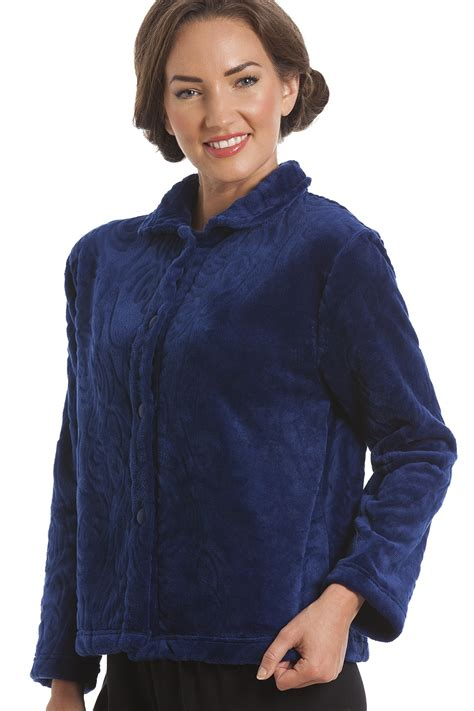 bed jackets luxury supersoft navy blue button up fleece bed jacket