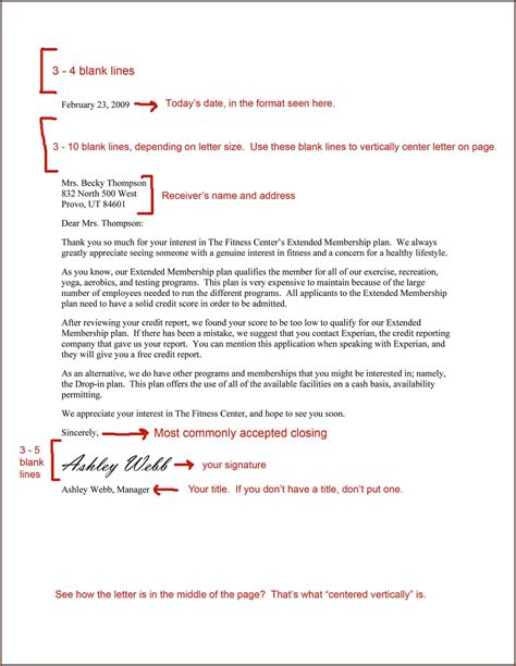 letter template business letter format spacing template