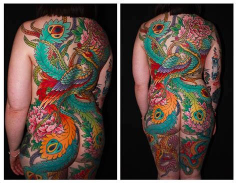 phoenix back piece for ashley chris o donnell tattoo