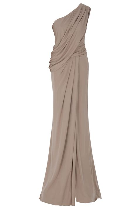 Elie Saab One Shoulder Draped Gown In Beige Black Lyst
