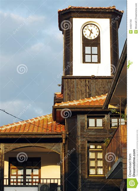 wooden clock tower stock photo image