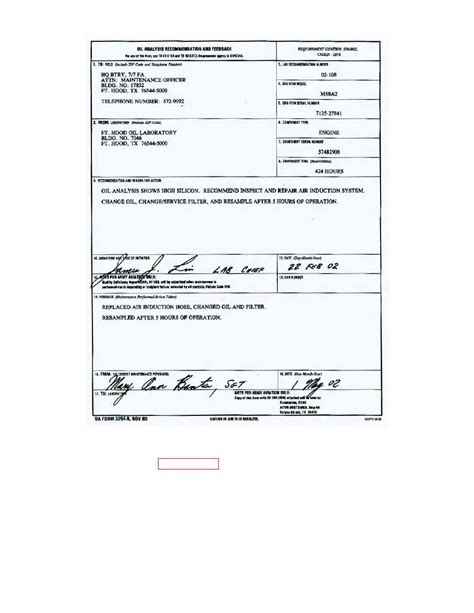Figure 9 Oil Analysis Recommendation And Feedback