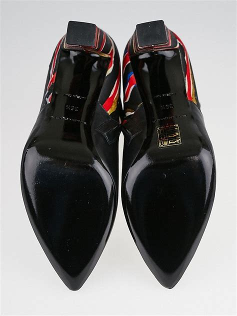 balenciaga black leather and printed silk pointed toe ankle boots size 6 36 5 yoogi s closet