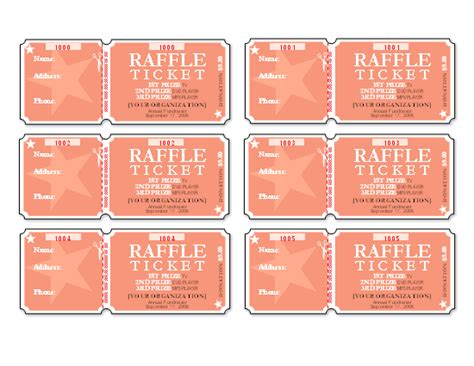 raffle tickets 6 per page templates office com