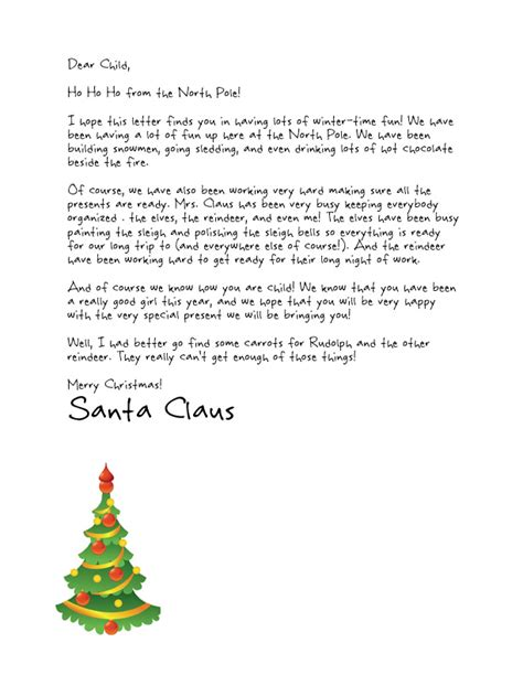 Easy Free Letters From Santa Customize Your Text And Design And Create A Unique Santa Letter Santa Letter Template For Day