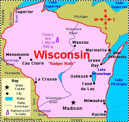 map usa wisconsin wisconsin facts map and state symbols