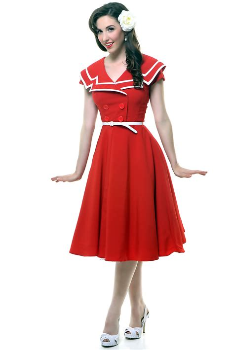 swing dresses online cheap red and white bengaline turndown collar short sleeve