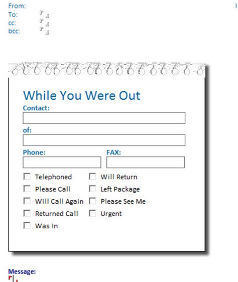 Outlook Message Template phone message template on outlook 2013