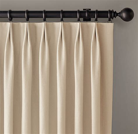 Tailored Pleat Drapery custom basket weave linen 2 fold tailored pleat drapery