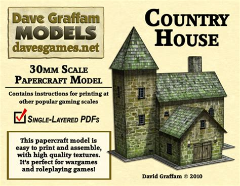 Country Papercraft - 30mm country house papercraft model now available