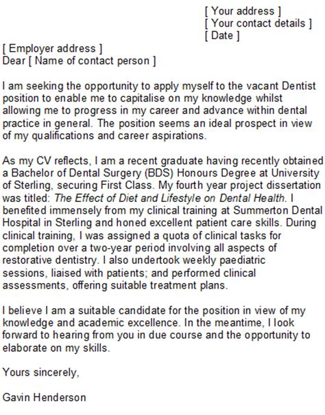 dentist cover letter dental cover letter sle