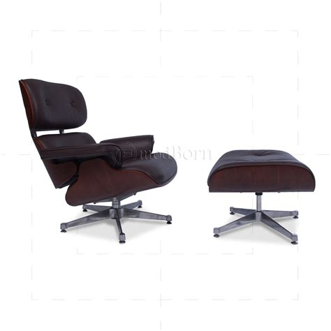 Eames Style Lounge Chair And Ottoman Brown Leather Cherry Wood Eames Leather Chair And Ottoman