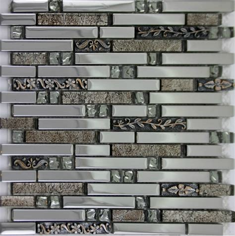 silver glass mosaic kitchen wall tiles backsplash ssmt136