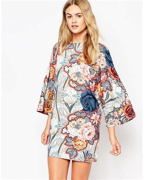 print sleeve t shirt dress asos t shirt dress with kimono sleeves in floral print in