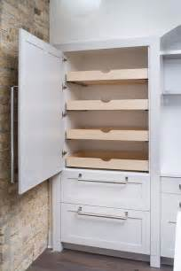 Kitchen Cabinets Pull Out Pantry by Hidden Pantry With Stacked Pull Out Shelves Transitional