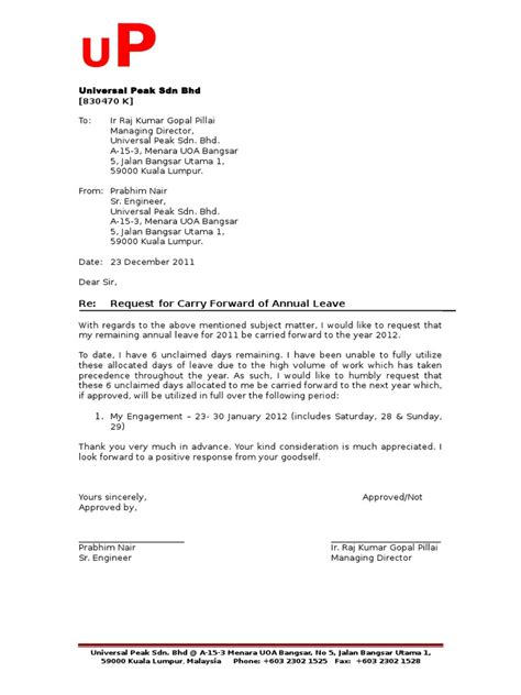 Permission Letter Of Bcom Year Carrying Forward Of Annual Leave Letter Of Request Business