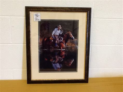 saddle framed art nib  western art vintage