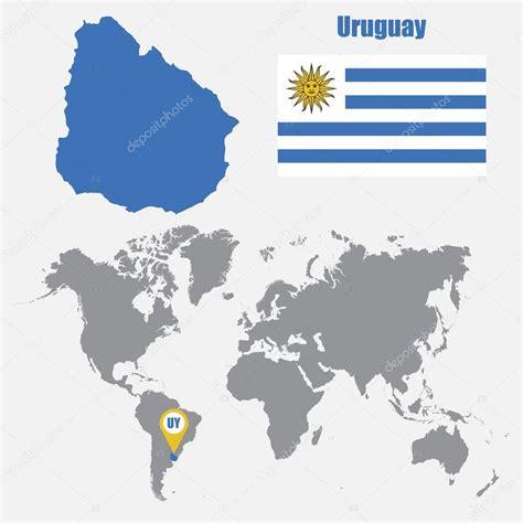 imagenes satelital del uruguay uruguay mapa en un mapa del mundo con la bandera y mapa de