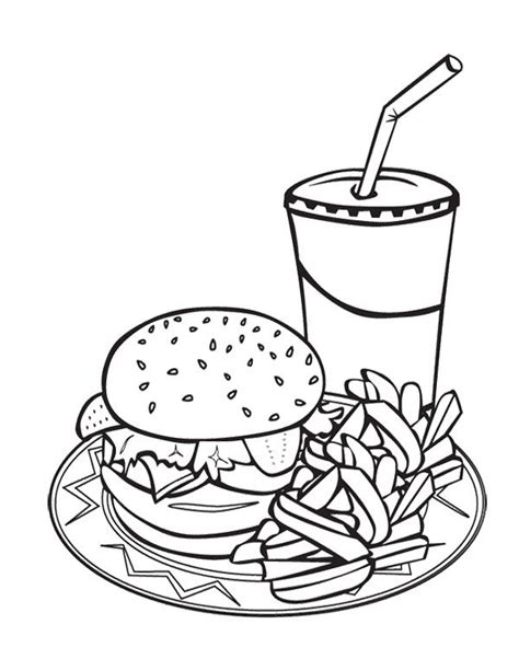 coloring pages food and drink junk food burger and drink coloring page for kids burger