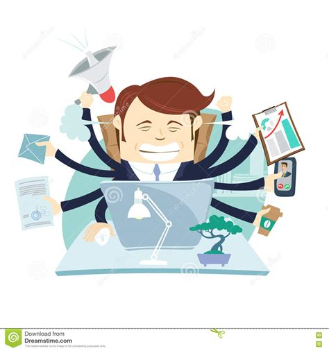 hard work man tired man business stock vector 660628576 busy tired angry businessman multitasking at desk in