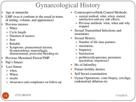 History Taking And Examination Ob Gyn History And Physical Template