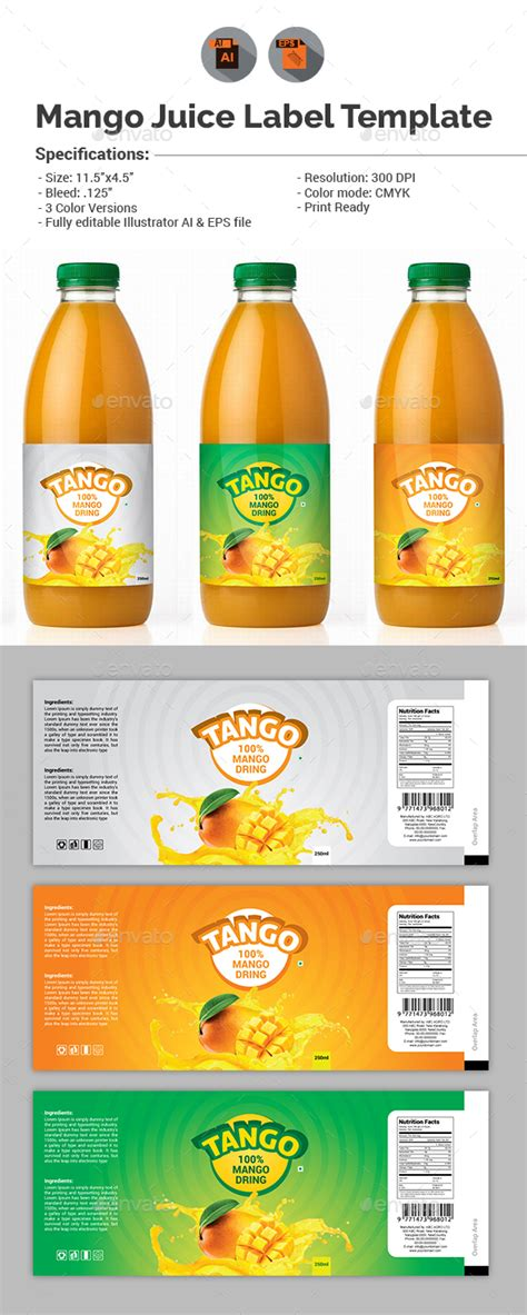 energy drink label template mango juice label template by aam360 graphicriver